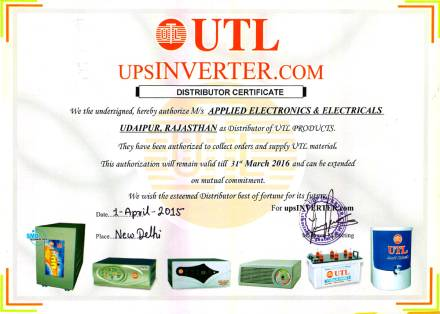 Applied Electronics & Electricals UTL Certificate